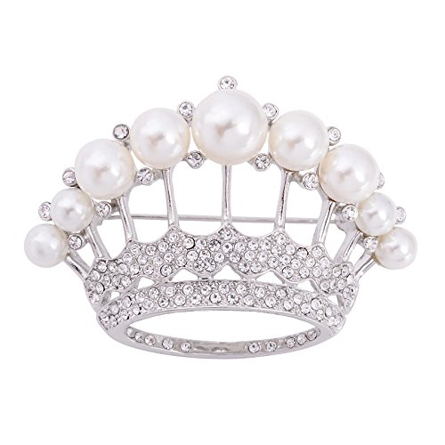 Silver Crystal Crown Pin (OBONNIE Large Silver Tone Crystal Queen Crown Pin Brooch With Pearl Wedding Bridal Pin (Silver))