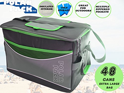 POLAR PACK Extra Large 48 Can Collapsible Cooler Bag Soft Portable Insulated Picnic Bag Outdoor Indoor Travel Lunch Bag for Camping Hiking Events School Travel Concerts & Sports (Black/Char/Lime)