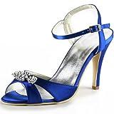 ElegantPark EP2011 Blue Women's Open Toe Rhinestones Thin Heel Satin Prom Sandals US 10