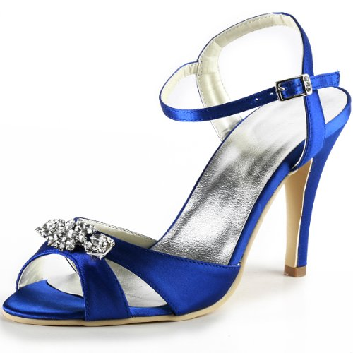 Sparkle Satin Sandals (ElegantPark EP2011 Blue Women's Open Toe Rhinestones Thin Heel Satin Prom Sandals US 9)