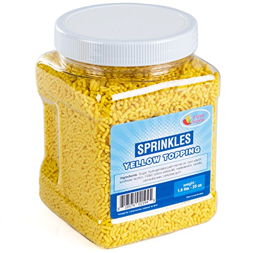 Yellow Sprinkles Bulk - Yellow Sprinkles in Resealable Container, 1.6 LB Bulk Candy