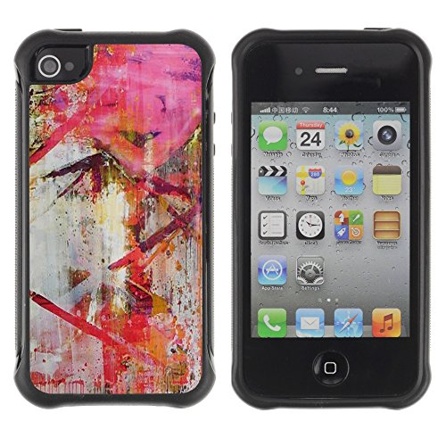 Apple Iphone 4 / 4S - Modern Art Painting Red