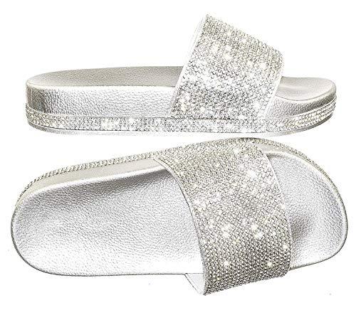 (Forever Link Viste-07 Rhinestone Glitter Slide Slip On Flatform Footbed Sandal Slippers (5 M US, Silver))
