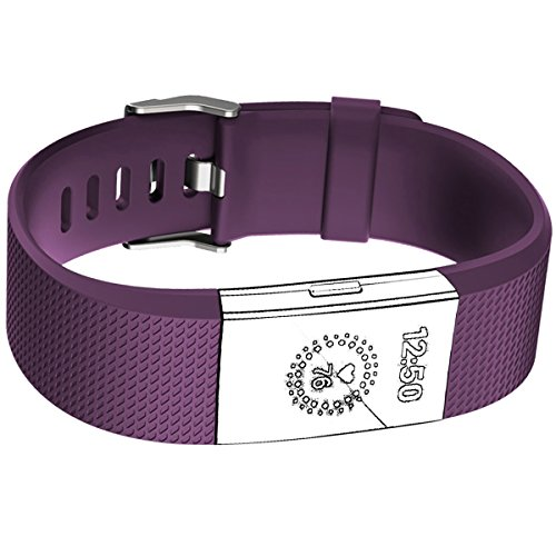 Band for Fitbit Charge 2 HR, Accessories Replacement Sport Fitness Band for Fitbit Charge 2 Heart Rate, Plum / Purple, Small