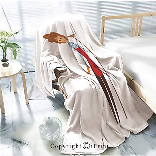 Flannel Printed Blanket for Warm Bedroom,Cute young girl holding wooden mop Cleaning service concept Cartoon woman character in maid uniforn brouse pants apron and rubber gloves Flat vector design C
