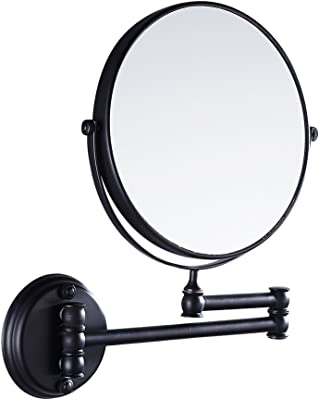 Jili Online Bathroom Wall Mounted Magnifying Dual Side Adjustable Makeup Mirror - Black, 20cm