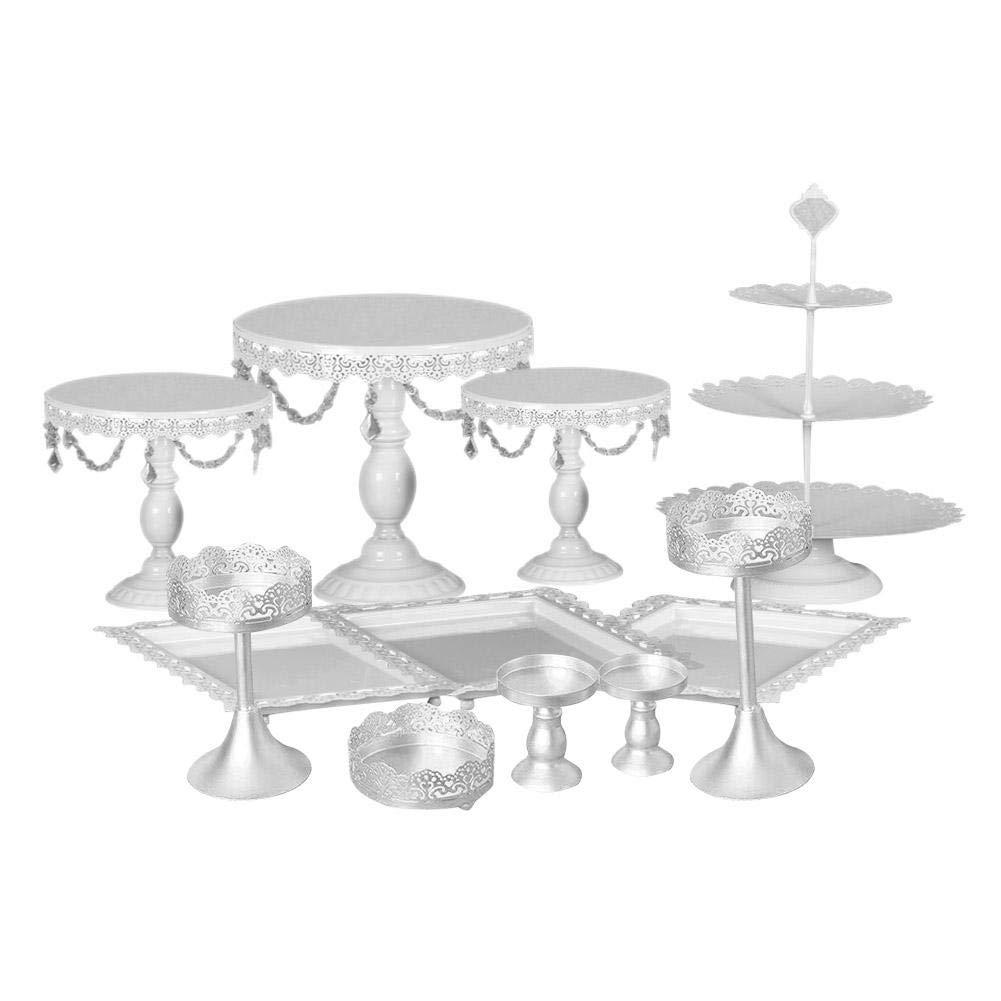Pr/ésentoir /À G/âteau Pr/ésentoir /À Dessert Porte-dessert /Étag/ère De F/ête De Mariage En Fer Forg/é Cristal Table De D/écoration D/écoration 12 PCS//Set