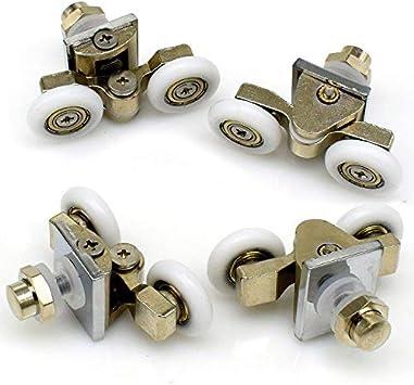 Rodillos para mampara de ducha, 25 mm, dobles, aleación de zinc, ruedas para puerta de ducha, 4 piezas: Amazon.es: Bricolaje y herramientas