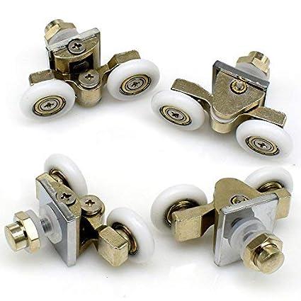 Rodillos para mampara de ducha, 25 mm, dobles, aleación de zinc, ruedas