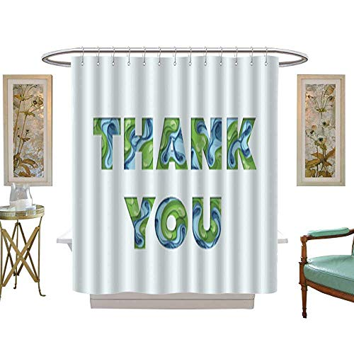 Iuvolux Shower CurtainThank You Greeting Card. Textile Bathroom Decoration Decor W54 x H72 Inch
