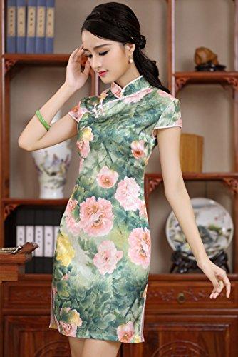 chino de tela de de Mujer Acvip algod Qipao tradicional noche Cheongsam vestido Wwc0w8vzp1