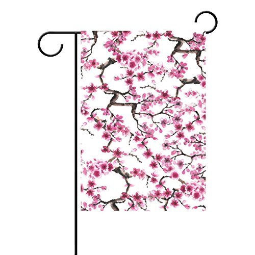 Oriental Cherry Blossm Garden Flag Sakura Polyester Welcome Outdoor Yard Flag Banners Patio Lawn Outdoor Home Decor,12x18 Inch