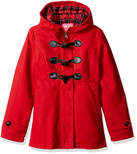 Pink Platinum Little Girls' Toddler Toggle Wool Jacket, Red, 2T