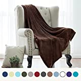 Flannel Fleece Luxury Blanket Brown Throw Lightweight Cozy Plush Microfiber Solid Blanket by Bedsure