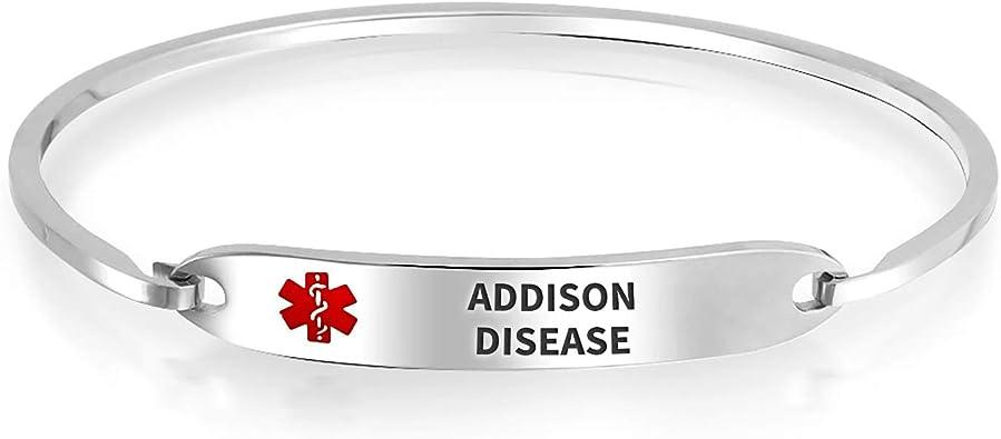 Medical ID Bracelet Stainless Steel Adjustable Bangle Bracelet Epilepsy Bracelet Medical Alert Bracelet