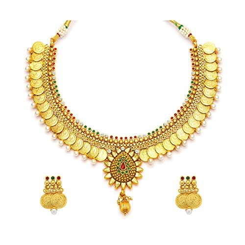 YouBella Jewellery Bollywood Ethnic Gold Plated Traditional Indian Necklace Set with Earrings for (Traditional Indian Gold Jewelry)