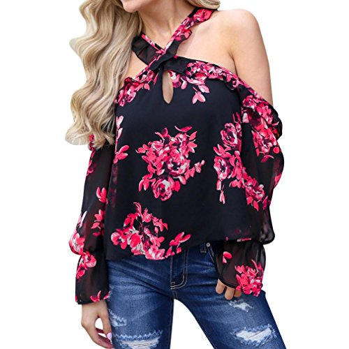 Theshy 2018 Fashion Women Floral Print Shirt V-Neck Camis Long Ruffle Sleeve Blouse Cold Shoulder Tops (S, Red) ()