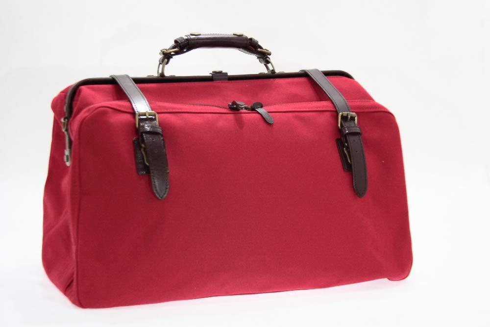 日本製 帆布 オープンポケット付き ダレスボストンバッグ 大 赤色 B07GRNJFLK