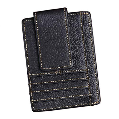 - Le'aokuu Genuine Leather RFID Magnet Money Clip Credit Card Case Holder Slim Wallet (E Black Rfid)