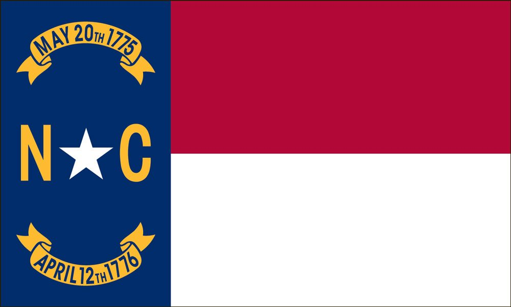 Valley Forge Flag 5-Foot by 8-Foot Nylon North Carolina State Flag with Canvas Header and Grommets by Valley Forge