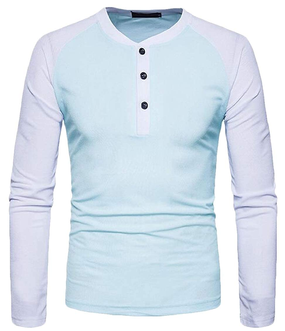 Fubotevic Mens Cotton Raglan Sleeve Buttons Crew Neck Casual Henley Patchwork T-Shirts Tops