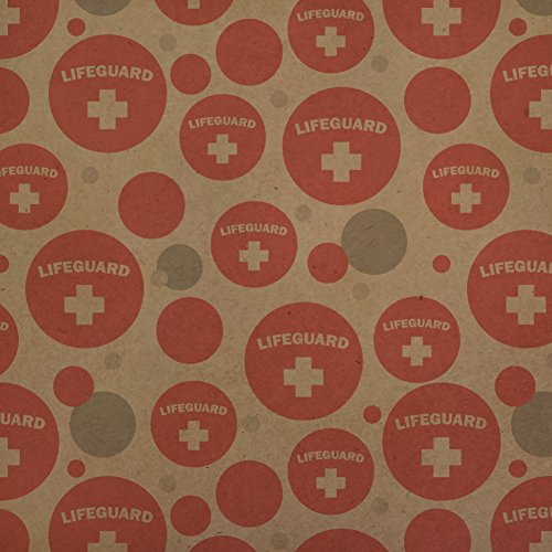 GRAPHICS & MORE Lifeguard Red and White Premium Kraft Gift Wrap Wrapping Paper Roll
