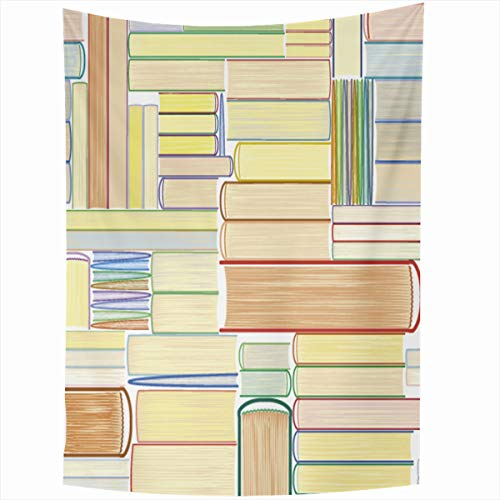 Ahawoso Tapestry Wall Hanging 60x80 Inches Pattern Books Library Bookworm Volume Leaflet Bookcase Reading Design Home Decor Tapestries Art for Living Room Bedroom Dorm