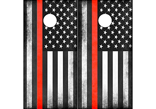 Speed Demon Hot Rod Shop Cornhole Board Wraps ~ Subdued Red American Flag Corn hole Boards Laminated Decal Wraps (Set of 2) CHB