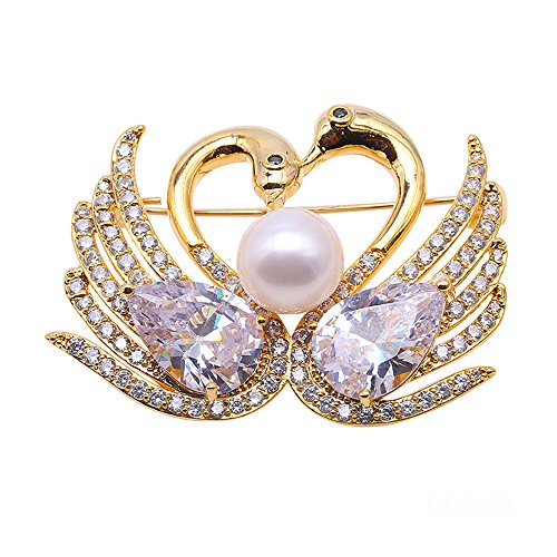 JYX Pearl Brooch AAA Quality Round Freshwater Cultured Pearl Brooch Pin Wedding Bridal Scarf Party Wedding Dress Bride Bridal Jewelry Gifts Bridesmaid Brooch Pins for Women (FB640)