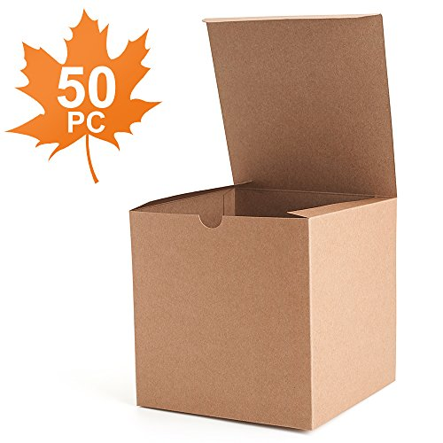 MESHA® Kraft Brown Boxes 50 Pack 6 x 6 x 6 Inches, Paper Gift Boxes with Lids for Gifts, Mugs, Cupcake (Brown Cake Favor Boxes)