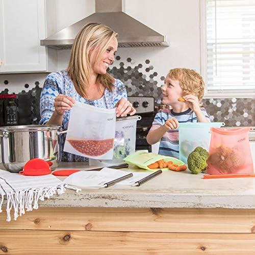 HOUSWAREPRO – Silicone Reusable Bags – Leak-Proof Lunch Baggies – Dishwasher Safe Veggies & Meat Storage – Boiling/ Refrigerator/ Freezer Safe – BPA Free, Food-Grade Pouches – Bundle of 7
