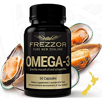 FREZZOR OMEGA-3 BLACK, Cold-Extracted New Zealand Green Lipped Mussel Oil Concentrate, 18 Essential-Fatty-Acids Anti-Inflammatory, Joint & Pain Relief, 12 Antioxidants, Burpless Softgels, AS SEEN ON TV!