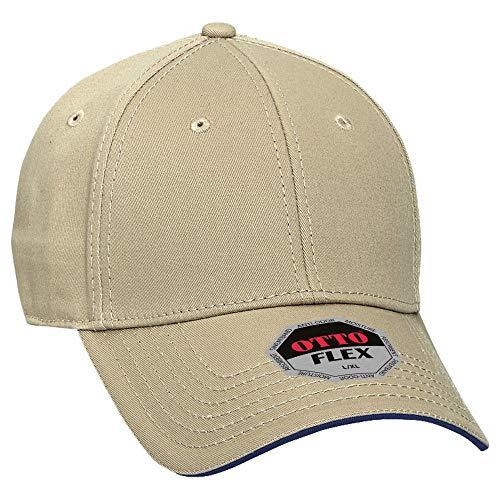 (OTTO Wholesale 12 x Flex Cotton Twill Sandwich Visor 6 Panel Low Profile Baseball Cap - KHA/KHA/NVY - (12 Pcs))