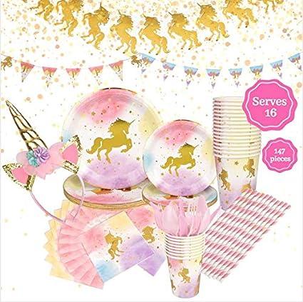 Amazon.com: AME CREATIF Unicornio suministros de fiesta ...
