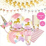 Unicorn Birthday Party Supplies Set, Serves 16 - Happy Birthday Banner Kit, Plates, Napkins, Cups, Straws, Pink Utensils, Balloons, Cute Horn Headband - Whimsical Decorations Decor Pack for Girls Parties