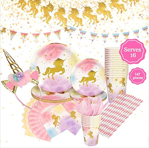 Unicorn Birthday Party Supplies Set, Serves 16 - Happy Birthday Banner Kit, Plates, Napkins, Cups, Straws, Pink Utensils, Balloons, Cute Horn Headband - Whimsical Decorations Decor Pack for Girls Part
