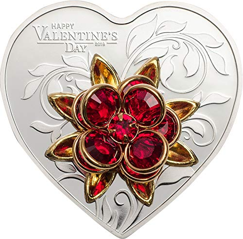 Silver Shaped Coin (2019 CK Happy Valentine Cit PowerCoin HAPPY VALENTINE DAY Swarovski Bouquet Heart Shaped Silver Coin 5$ Cook Islands 2019 Proof)
