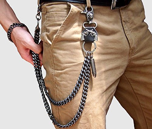 Wallet Chain Biker Fashion Metal Jeans Guns Bullets Charm Skull Rusty Silver