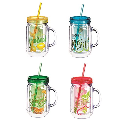 Cypress Home Cocktail Recipes Acrylic Travel Mason Jars, Set of 4, 20 ounces by Cypress Home