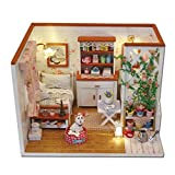 Flever Dollhouse Miniature DIY House Kit Creative Room With Furniture and Cover for Romantic Valentine's Gift(A Little Luckiness)