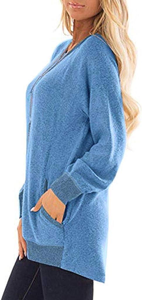 Women Casual Long Sleeve Blouse Top Oversize Sweatshirt Sweatshirt Tunics Blouses Tops with Pockets