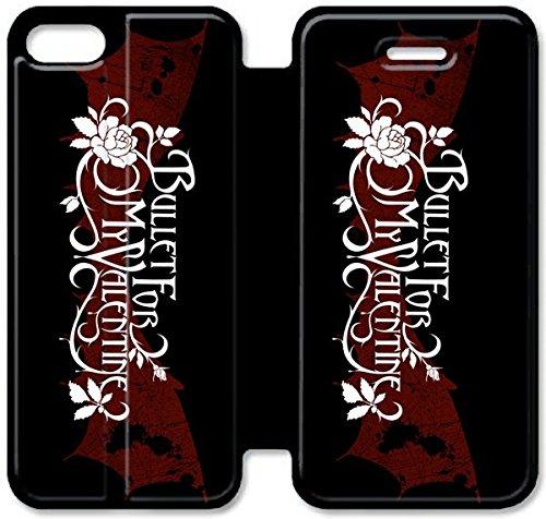 Flip étui en cuir PU Stand pour Coque iPhone 5 5S, bricolage 5 5S téléphone portable Coque Case Bullet For My Valentine Housse en cuir Coque iPhone I2Y3XK Pour Garçons