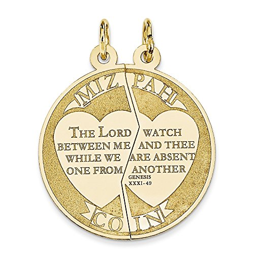 14K Yellow Gold Break-Apart Mizpah Coin Charm Pendant ()