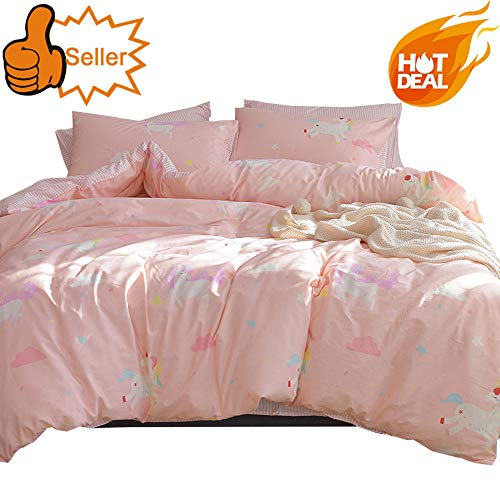 OTOB Cotton Cartoon Unicorn Queen/Full Duvet Cover Bed Set Girls, Kids Teen Bedding Sets Full Size 3 Piece for Toddler Women, Reversible Striped (1 Comforter Cover 2 Pillowcase) Cloud Print, Pink ()