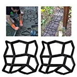 2 Pack Irregular DIY Pavement Mold Walk Maker Path Maker Brick Mold Concrete Form Pathmate Stepping Stone Molds for Concrete Mould Reusable for Garden, Court Yards, Patios and Walks, 13.78 x 13.78inch