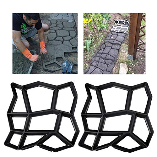 2 Pack Irregular DIY Pavement Mold Walk Maker Path Maker Brick Mold Concrete Form Pathmate Stepping Stone Molds for Concrete Mould Reusable for Garden, Court Yards, Patios and Walks, 13.8 x 13.8inch (Garden Stone Concrete)
