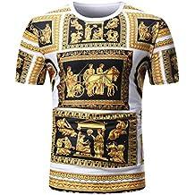 Nikuya Men Fashion O Neck Pullover Short Sleeve T-Shirt Top Summer Casual African Print Blouse