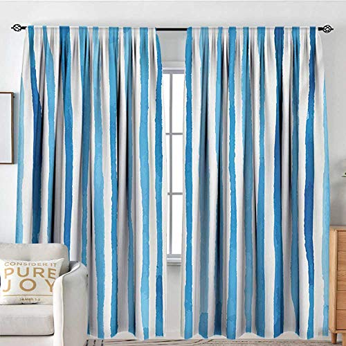 Petpany Bedroom Blackout Curtain Panels Harbour Stripe,Watercolor Stripes Paintbrush Color Bands Nautical Cottage Design,Violet Blue White,All Season Thermal Insulated Solid Room Drapes 120