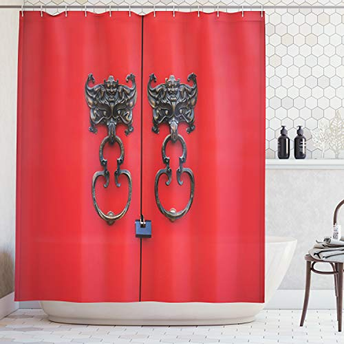 Ambesonne Rustic Decor Collection, Bat Door Knocker on Door Entrance Design and Antique Ethnic Cultural Artwork Pattern, Polyester Fabric Bathroom Shower Curtain, 75 Inches Long, Red and Copper
