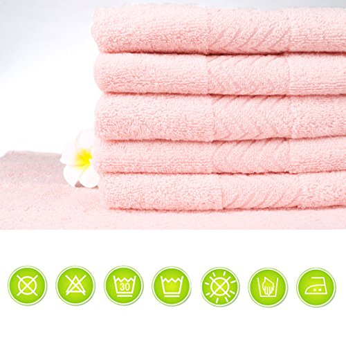 uxcell Luxury Hotel & Spa Soft Bath Towels, 100% Cotton 6 Piece Wash Cloths Set, 13.4 x 13.4 inch, Pink by uxcell (Image #4)